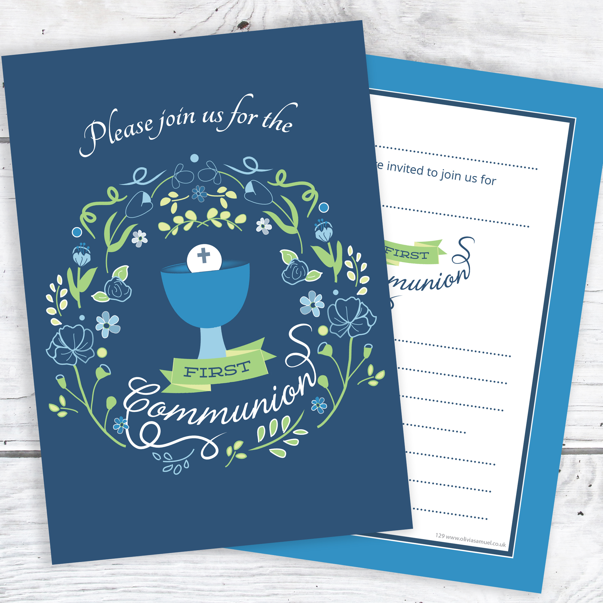 First Holy Communion Invitations Boys Blue Design Ready To Write With Envelopes Pack 10