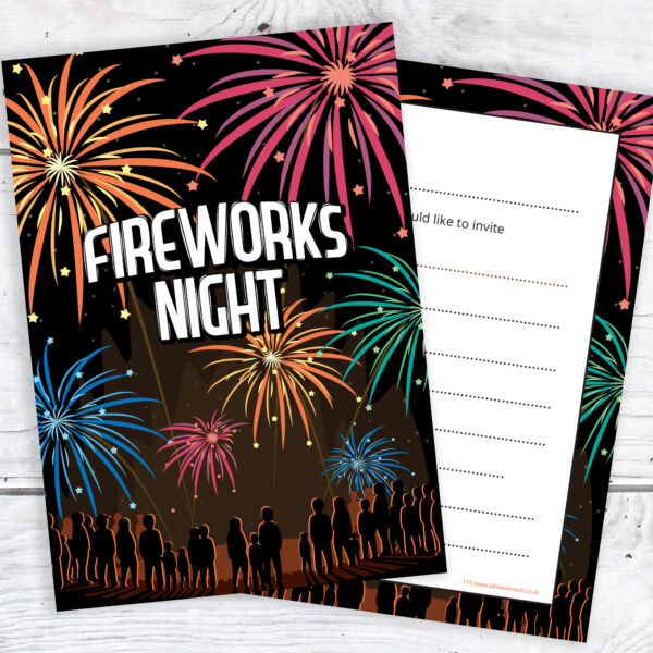 Firework Night Party Invitations Ready to Write