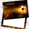 Football Thank You Cards - Flaming Ball Style RTW0084