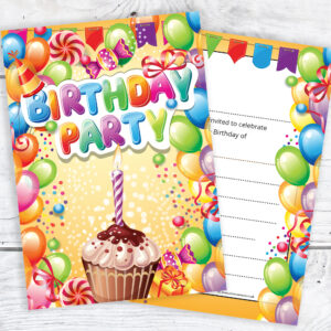 Fun Birthday Invitations - Boy or Girl - Ready to Write with Envelopes Pack of 10