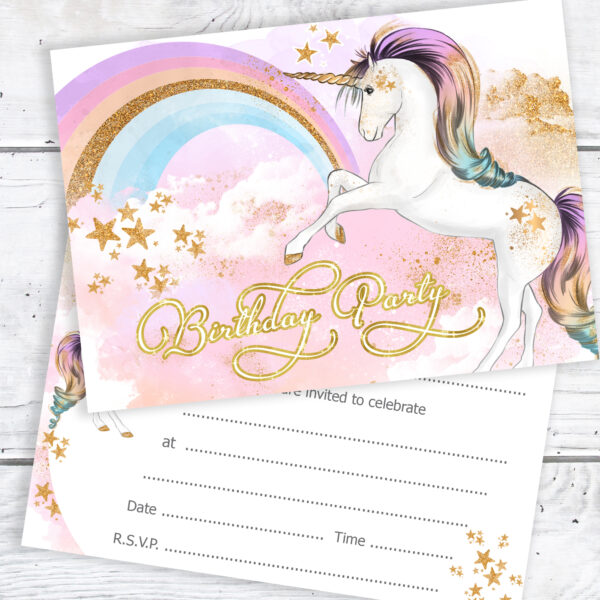 Girls Unicorn Birthday Party Invitations Pack 10