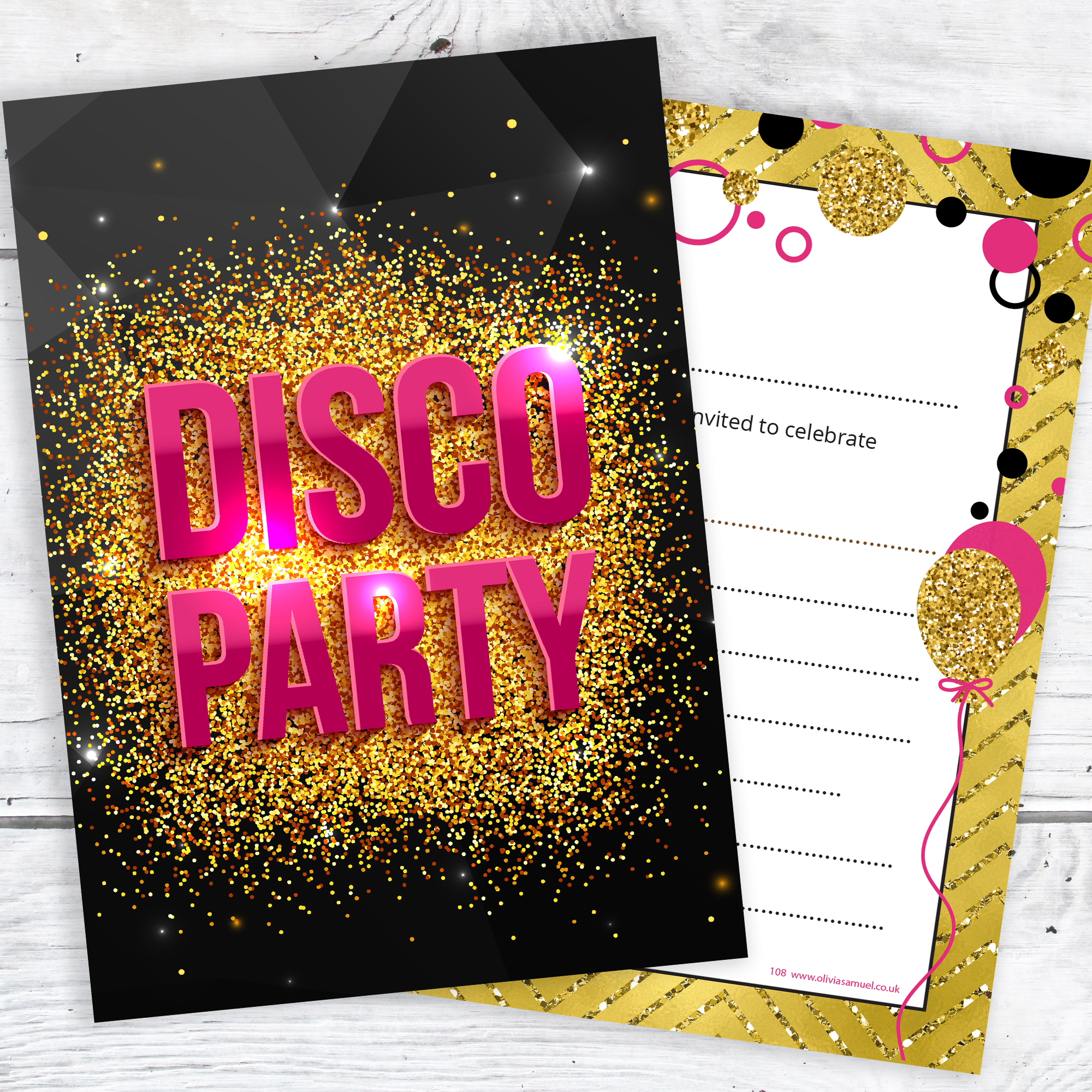 Disco Party Invitations – Girls Pink and Gold Style ...
