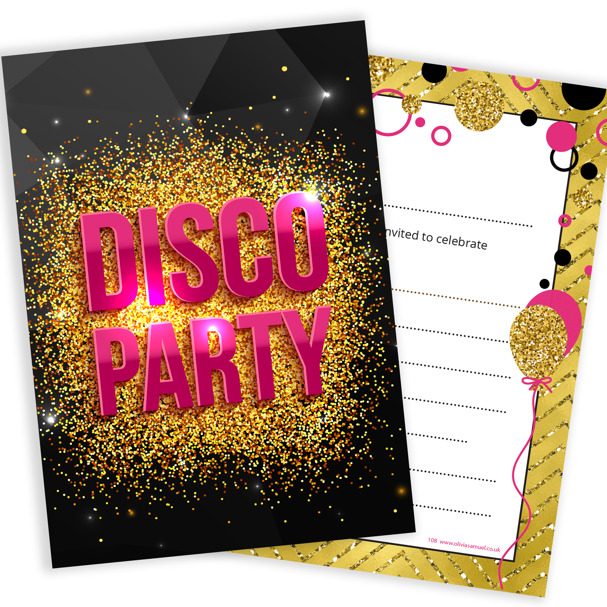 disco party invitations  u2013 girls pink and gold style  u2013 ready to write with envelopes  pack 10