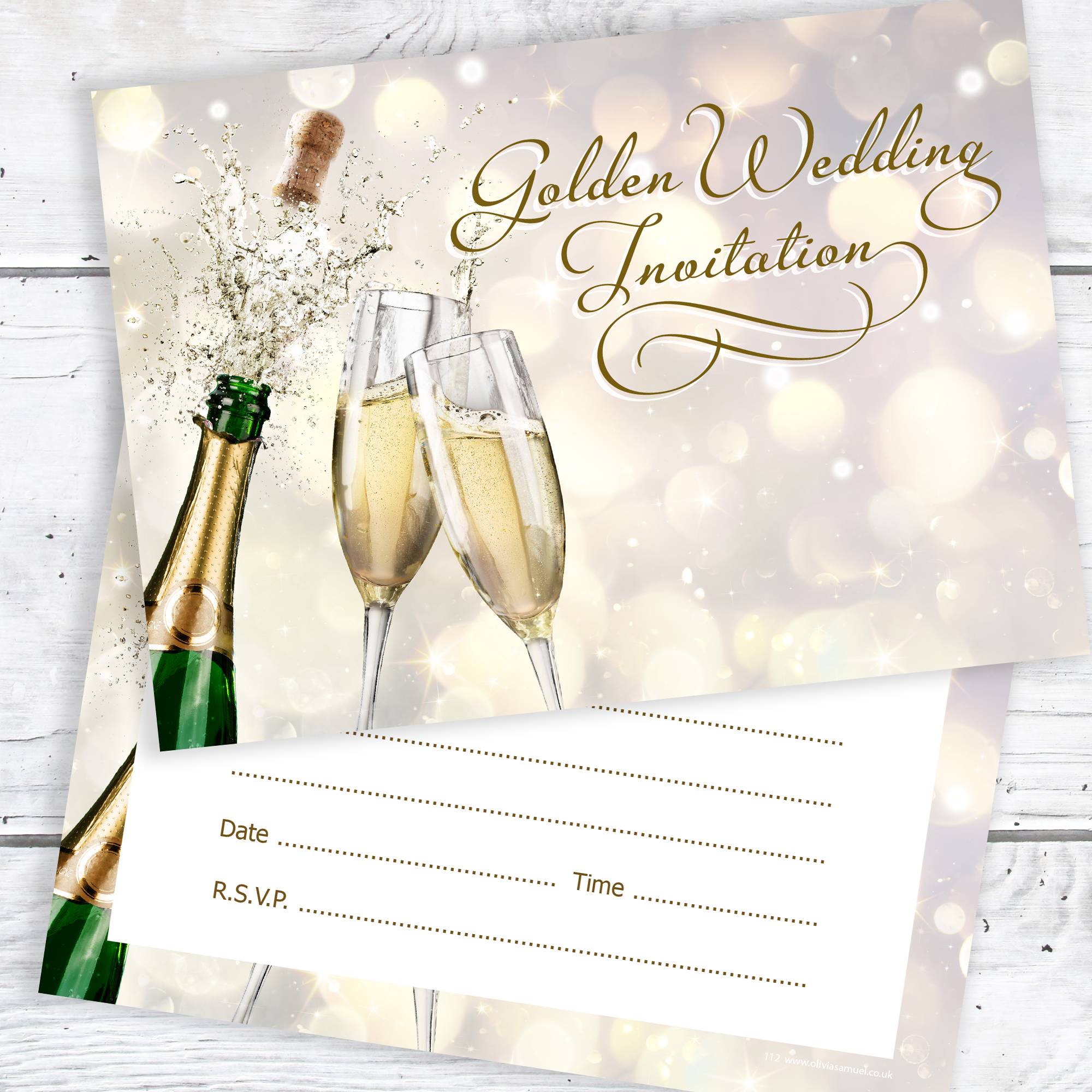 Golden anniversary invitations ready to write envelopes included golden wedding anniversary invitations ready to write pack 10 stopboris Choice Image