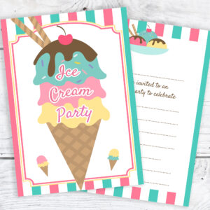 Ice Cream Party Invitations - Ready to Write with Envelopes White Pack 10