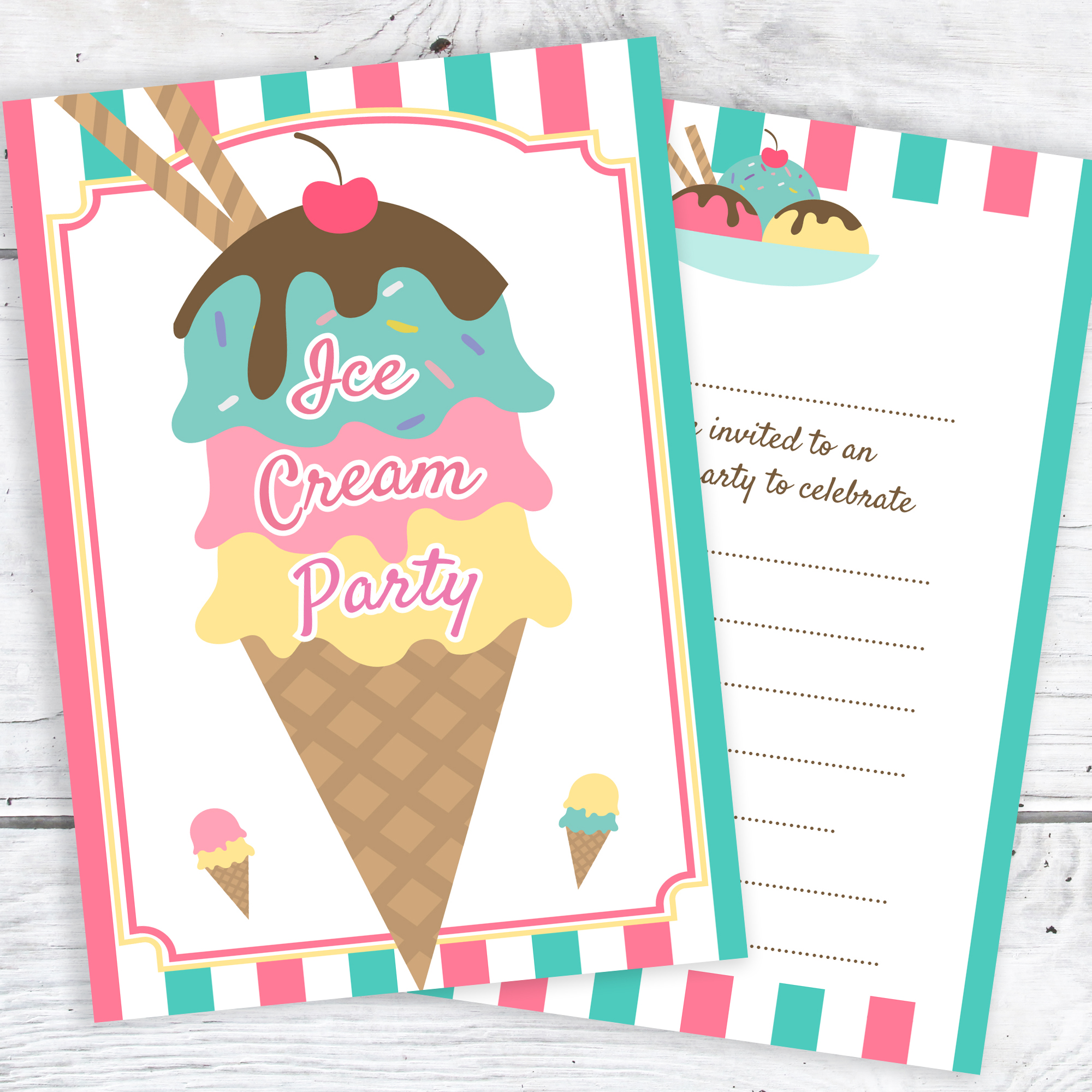 Ice Cream Party Invitations – Ready to Write with Envelopes (Pack 10 ...