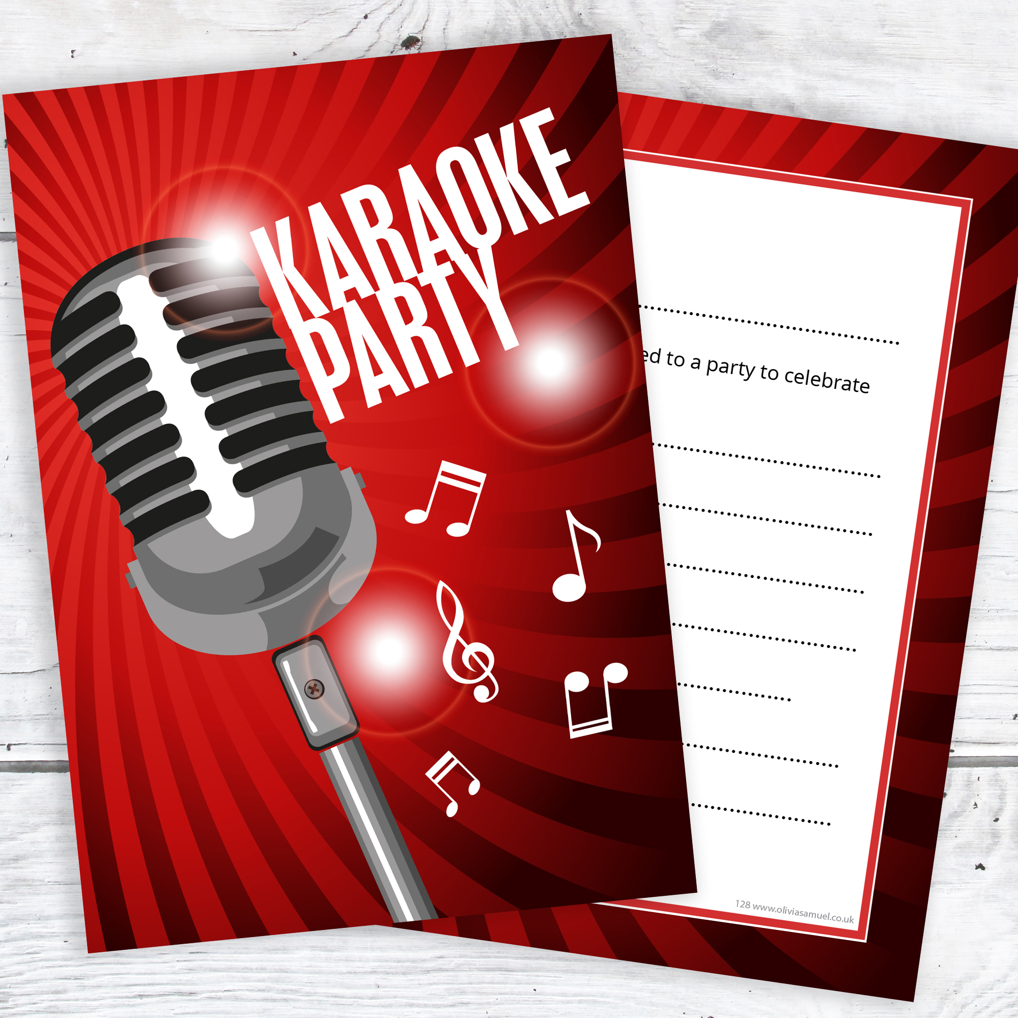 Karaoke Party Invitations – Ready to Write with Envelopes (Pack 10 ...