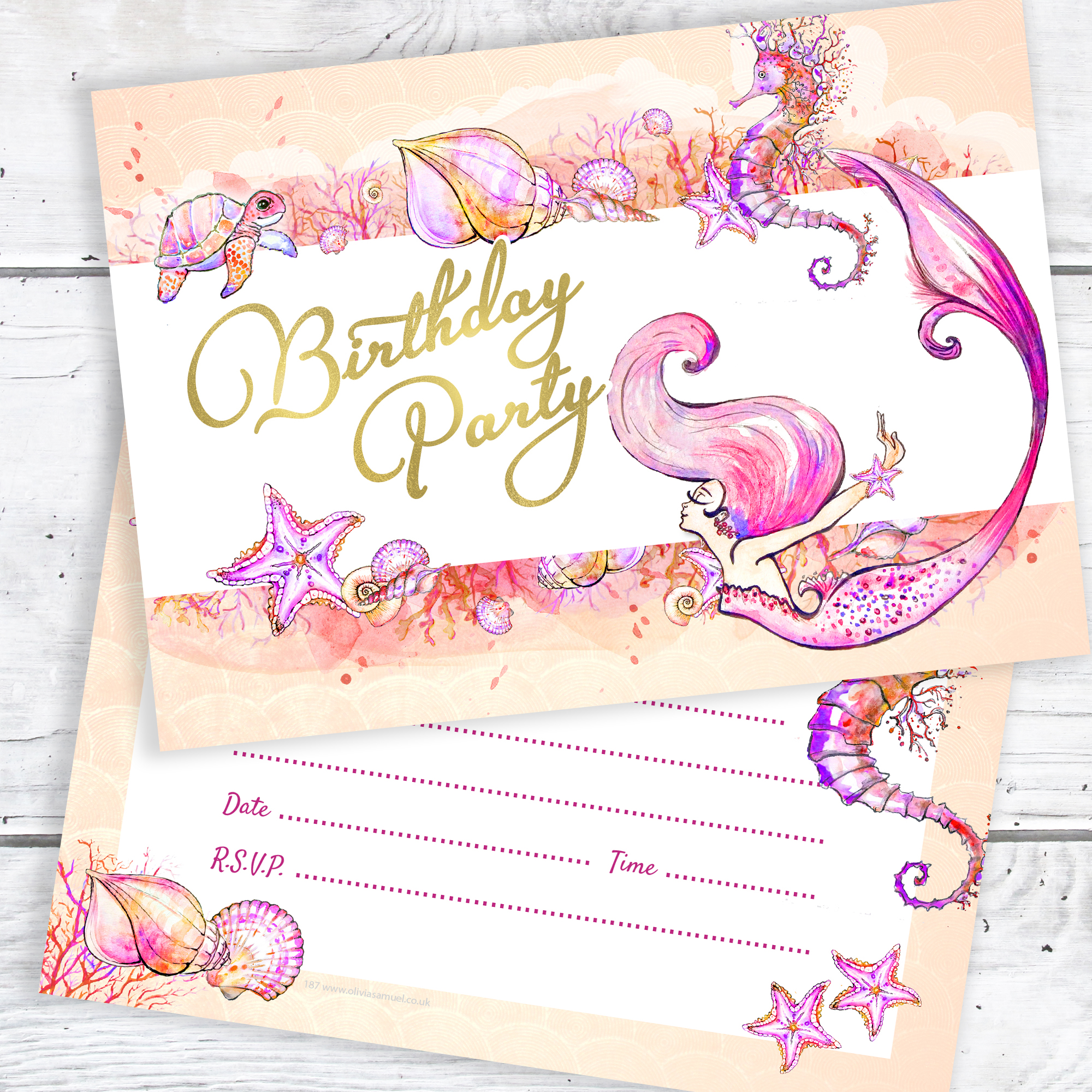 Mermaid Birthday Party Invitations Ready To Write With Envelopes Pack 10