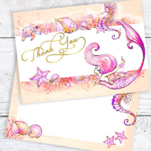 Mermaid Thank You Cards Postcard Style with Envelopes