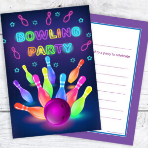 Neon Bowling Party Invitations Pack 10