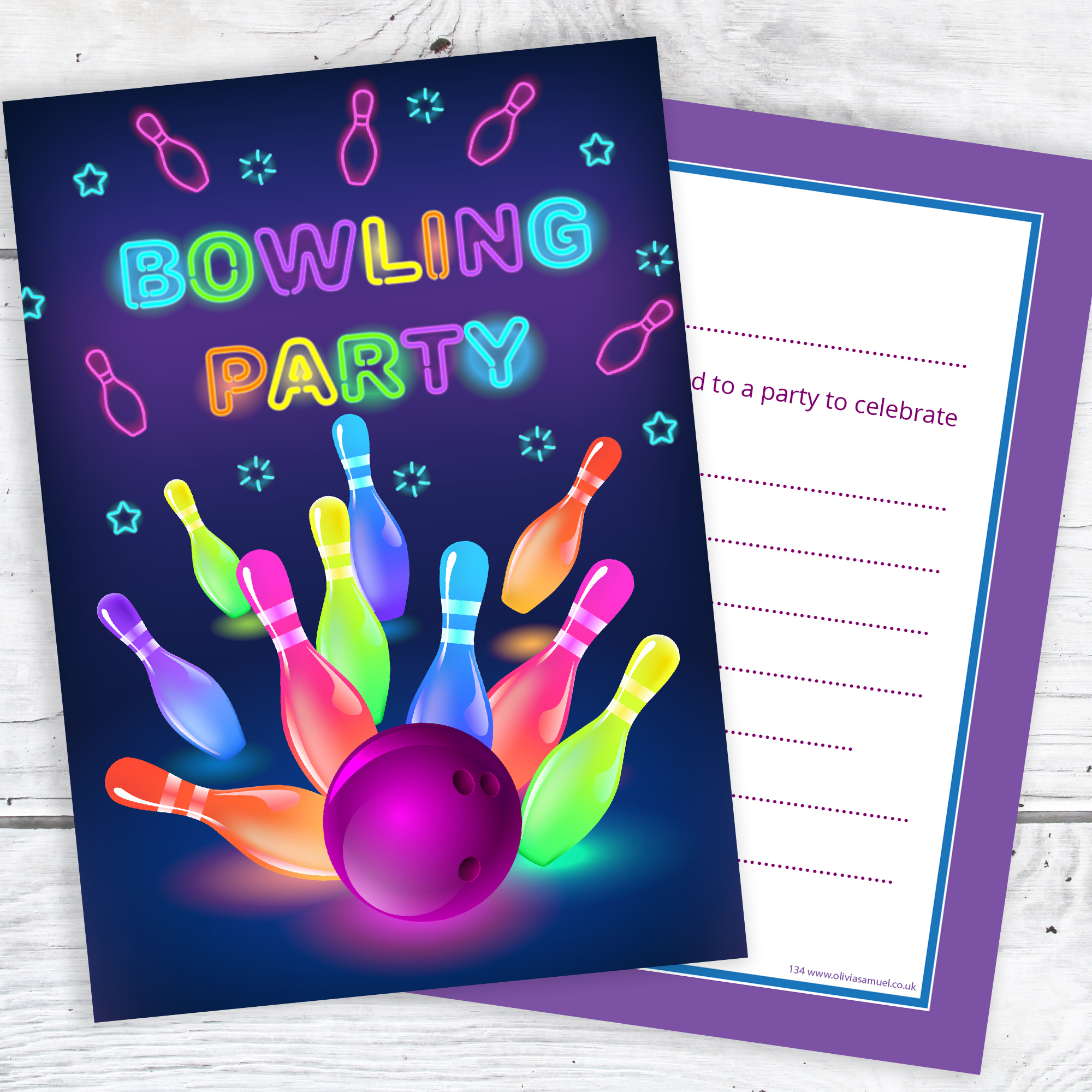 Neon Bowling Party Invitations – Ready to Write with Envelopes (Pack ...