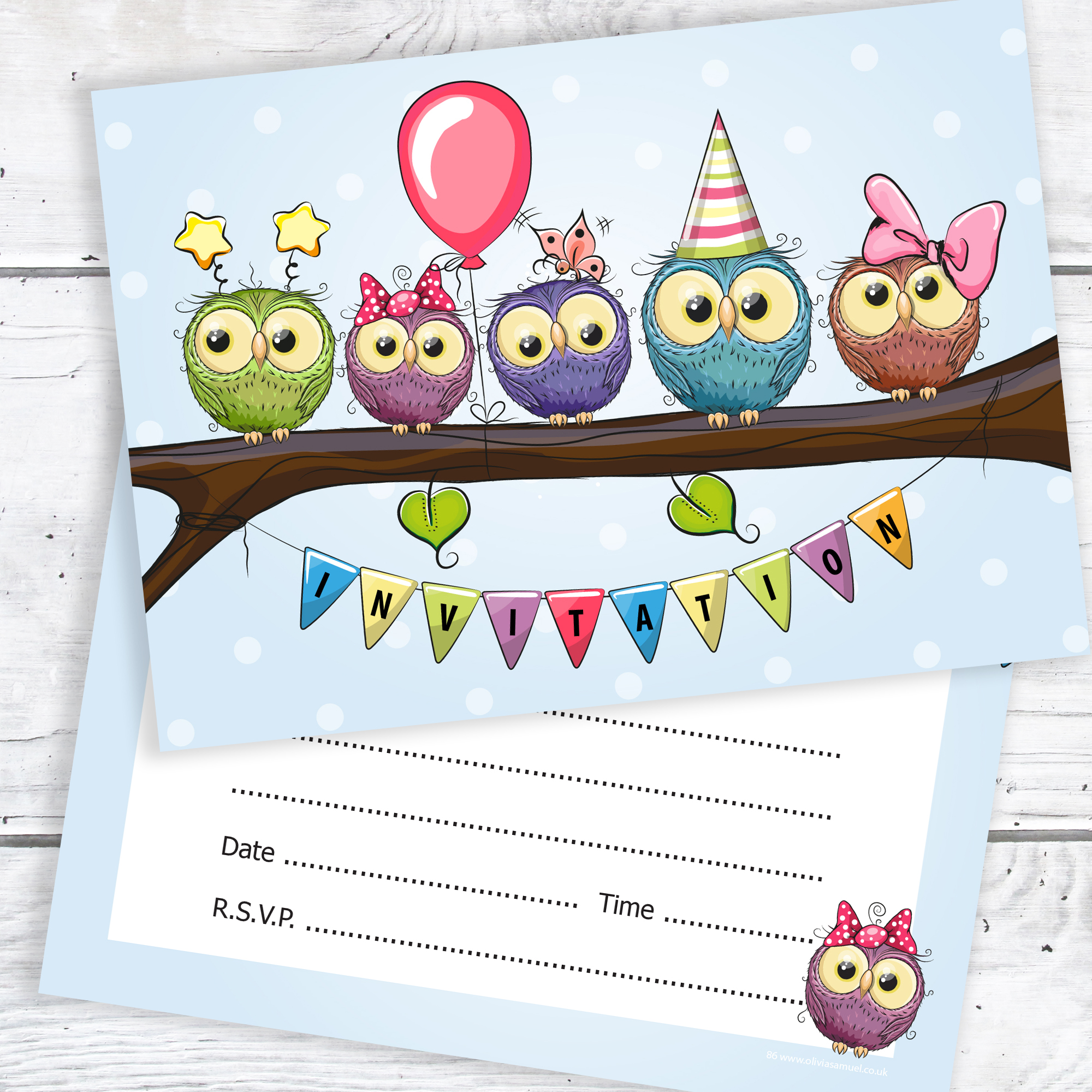 Party Invitations – Colourful Cute Owl Design – Ready to Write with ...