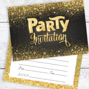 Party Invitations Black and Gold