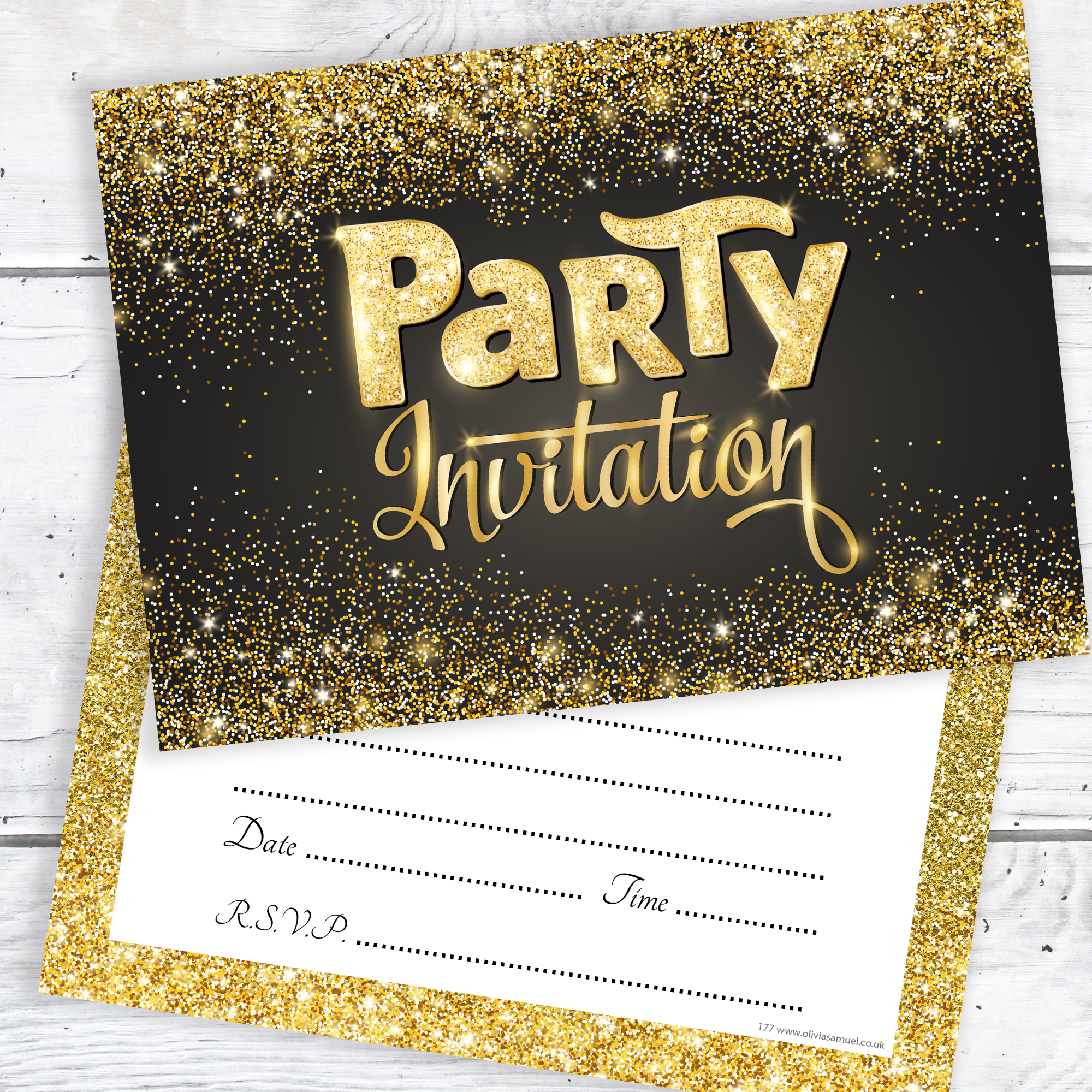 black and gold party invitations ready to write with envelopes