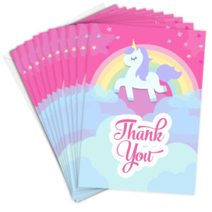Pink Unicorn Party Thank You Cards
