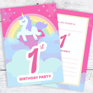 Pink Unicorn and Rainbow 1st Birthday Invitations Pack 10