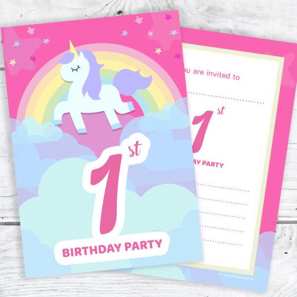Pink Unicorn and Rainbow 1st Birthday Invitations Pack 10