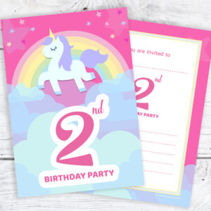 Pink Unicorn and Rainbow 2nd Birthday Invitations Pack 10