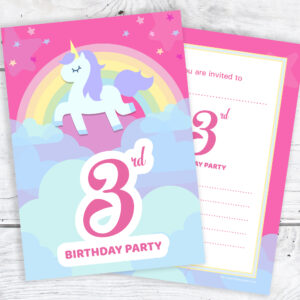 Pink Unicorn and Rainbow 3rd Birthday Invitations Pack 10