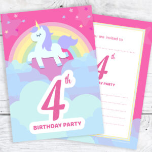 Pink Unicorn and Rainbow 4th Birthday Invitations Pack 10