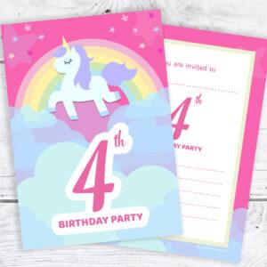 Pink Unicorn and Rainbow 4th Birthday Invitations Pack 10