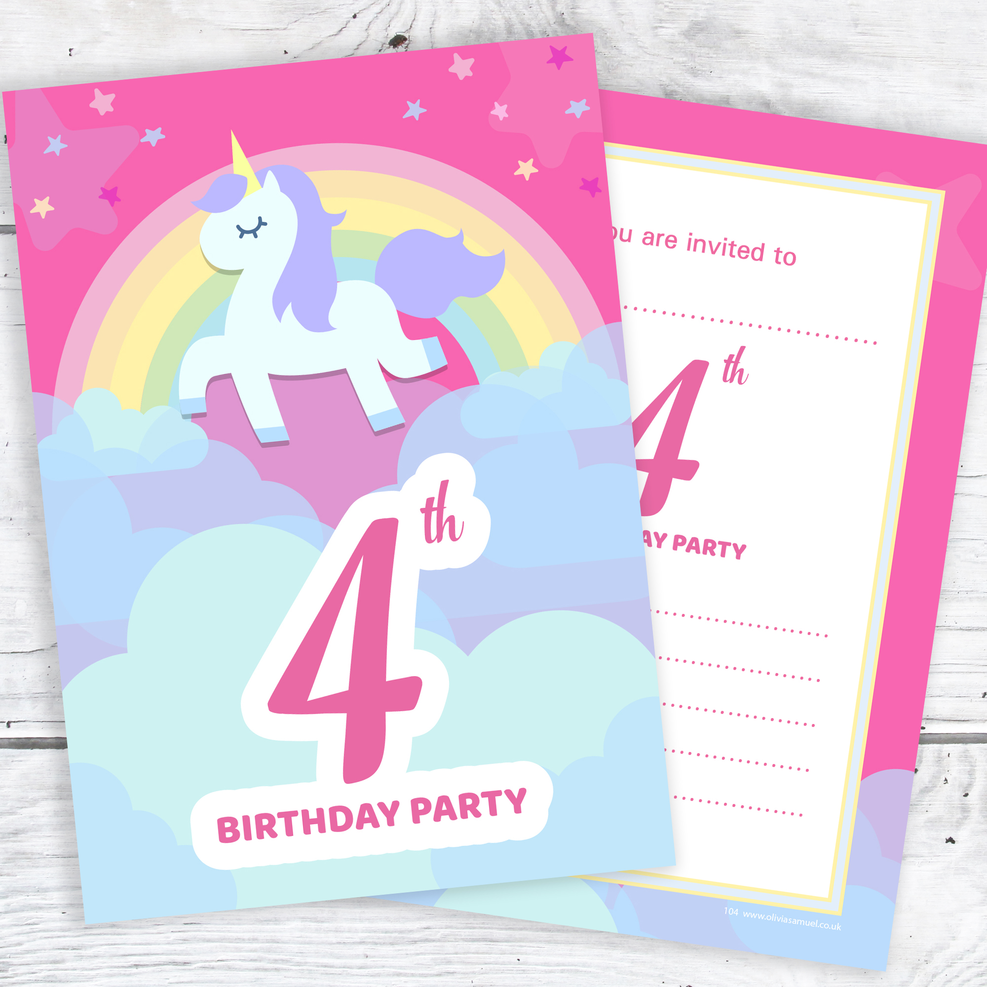 4th birthday party invitations unicorn rainbow pink invites
