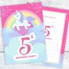 Pink Unicorn and Rainbow 5th Birthday Invitations Pack 10