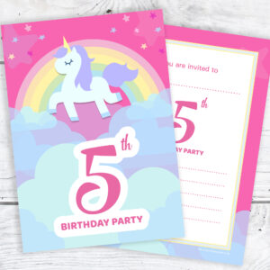 Pink Unicorn and Rainbow 5th Birthday Invitations Pack 10