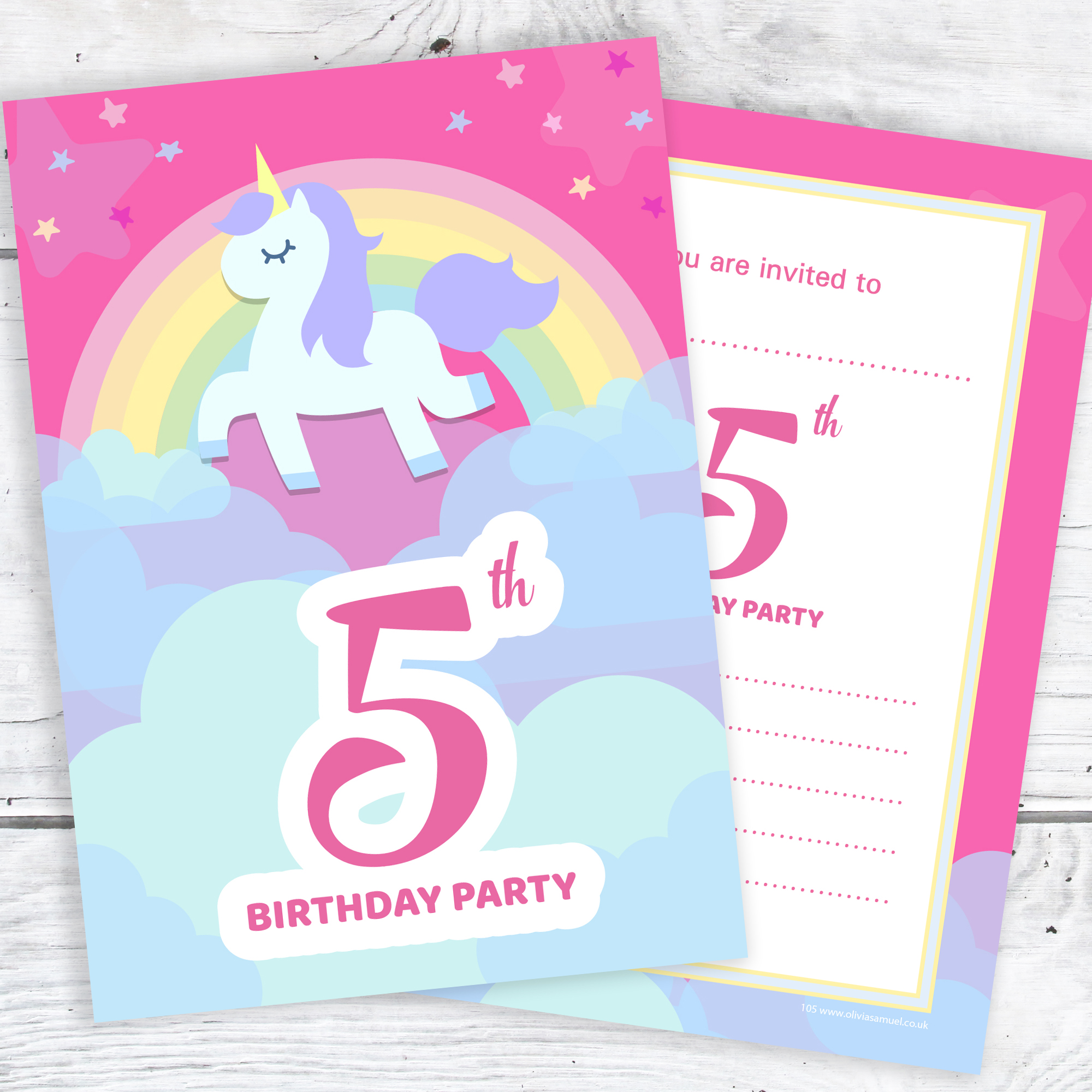 Stupendous 5Th Birthday Party Invitations Unicorn Rainbow Pink Invites Funny Birthday Cards Online Elaedamsfinfo