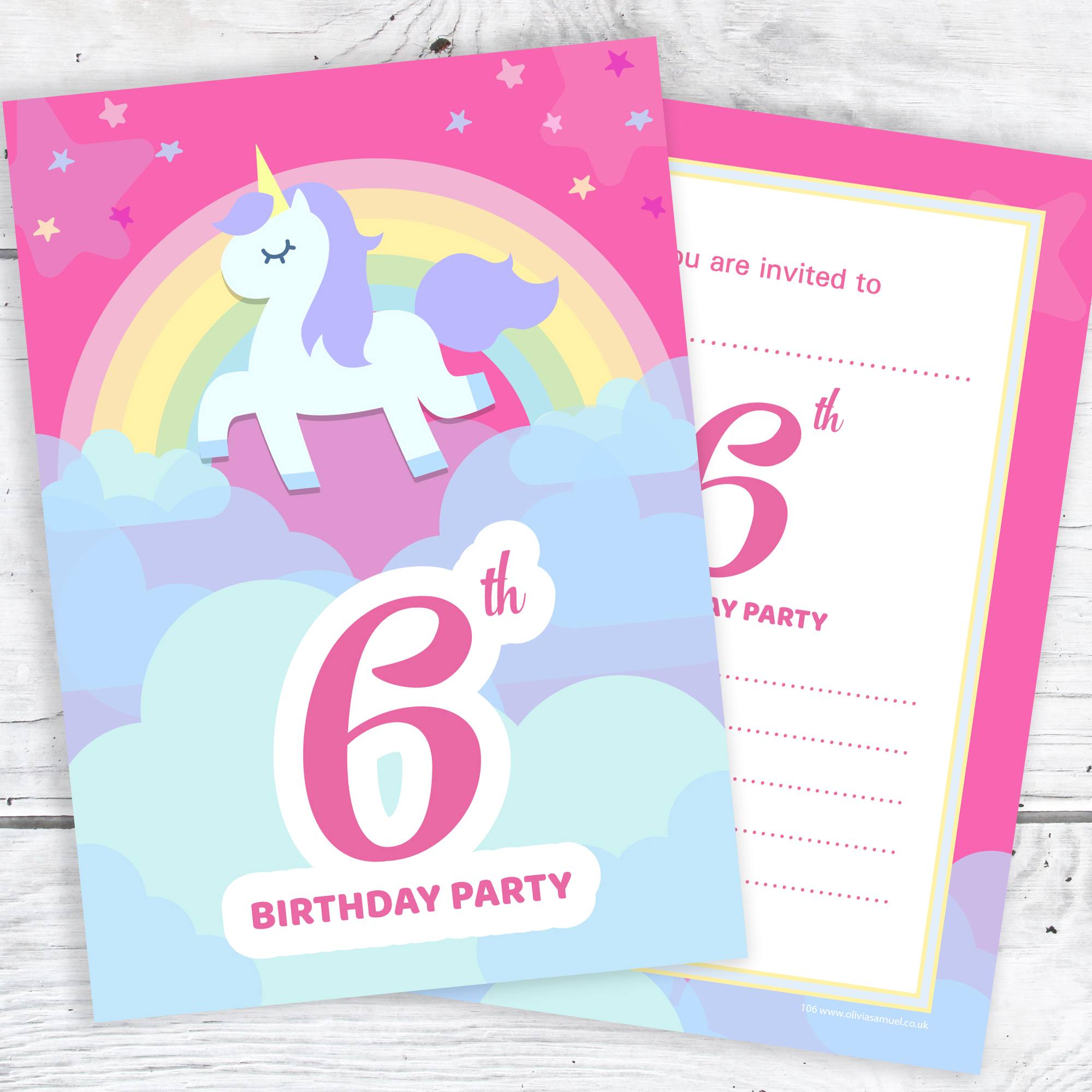 Pink Unicorn And Rainbow 6th Birthday Invitations Pack 10
