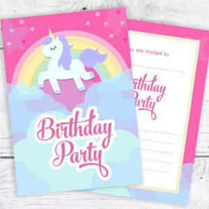 Pink Unicorn and Rainbow Birthday Invitations Pack 10