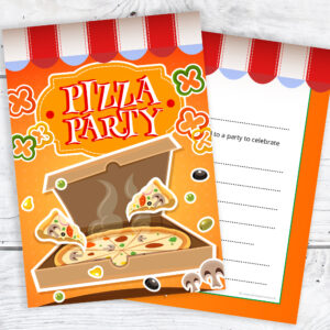 Pizza Party Birthday Invitations Pack 10