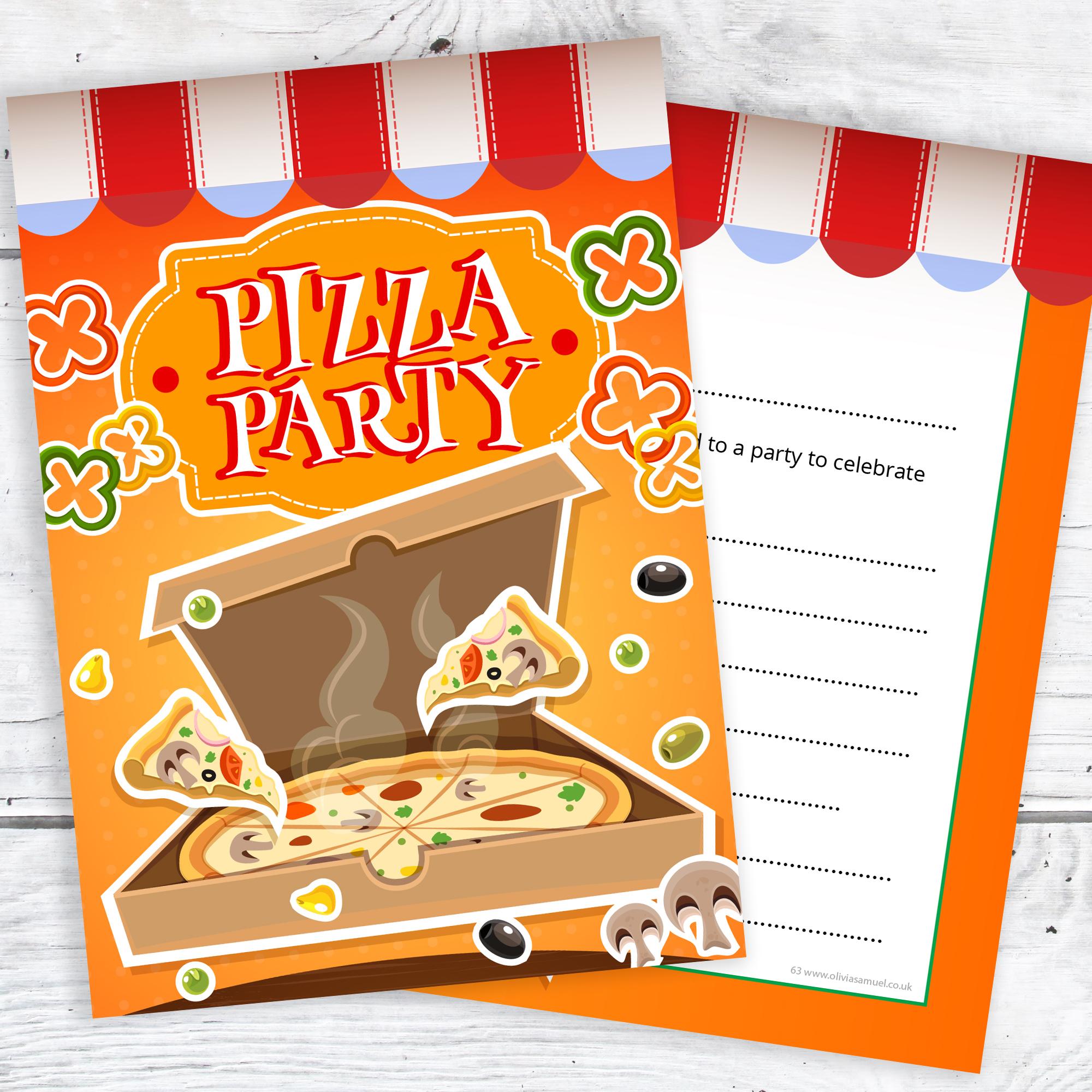 Pizza Party Invitations – Kids Pizza Invites – Ready to Write ...