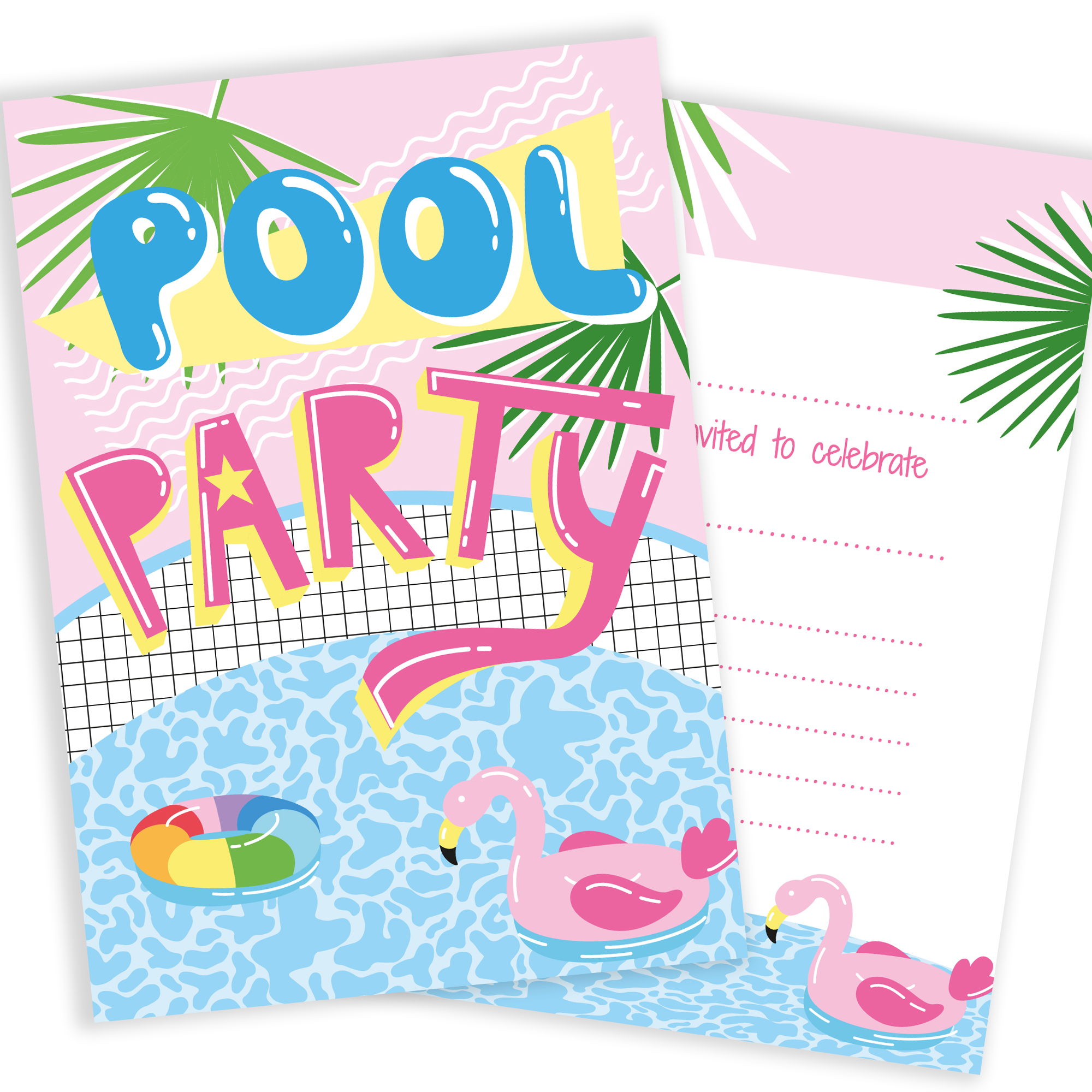 pool party invites  u2013 pink tropical style  u2013 ready to write