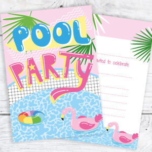Pool Party Invites - Pink Tropical Style - Ready to Write with Envelopes Staged (Pack 10)