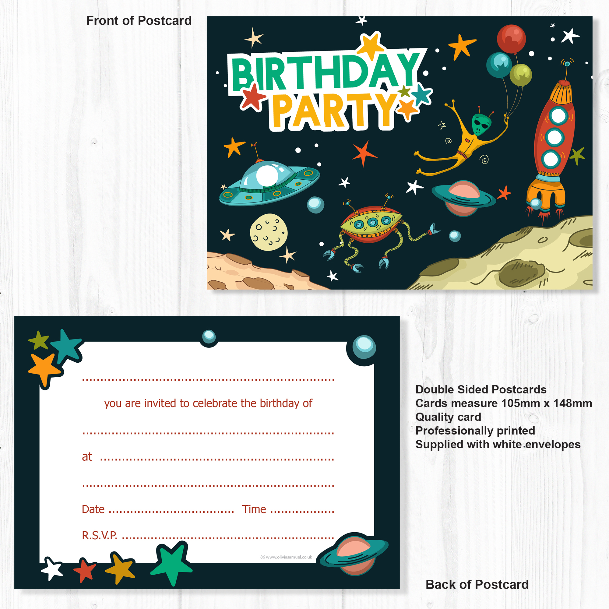 Space Birthday Party Invitations – A6 Postcard style – Ready to ...