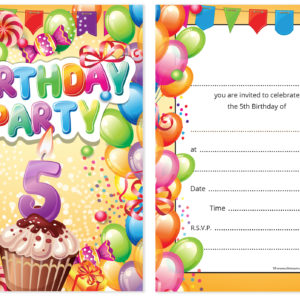 Childrens 5th birthday party invites boy or girl bright fun home invitations birthday kids party invitations 5th birthday invitations filmwisefo