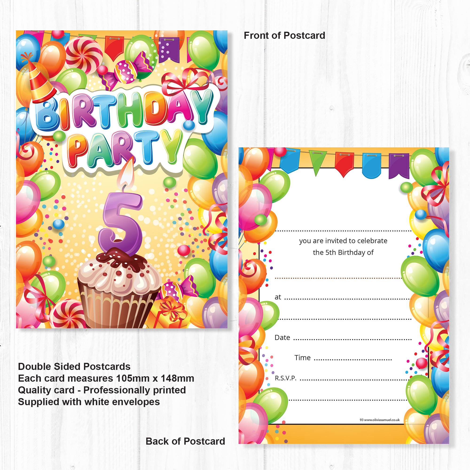 Childrens 5th Birthday Party Invites Boy Or Girl Bright Fun Design Ready To Write With Envelopes Pack 10