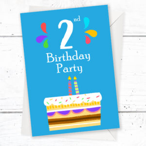 2nd Birthday Party Invitations 2 Candle Blue Cake Design With