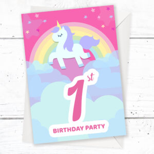 Remarkable 1St Birthday Party Invitations Unicorn Rainbow Pink Invites Funny Birthday Cards Online Alyptdamsfinfo