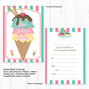 Ice Cream Party Invitations Ready To Write With Envelopes Pack 10
