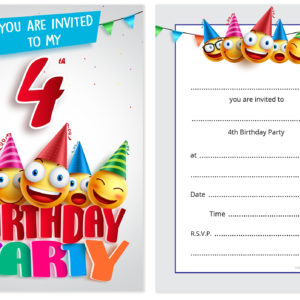 4th Birthday Party Invites Emoji Style Ready To Write With