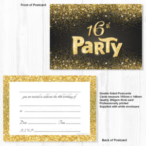 Black And Gold Effect 16th Birthday Party Invitations Ready To Write With Envelopes Pack 10 Olivia Samuel