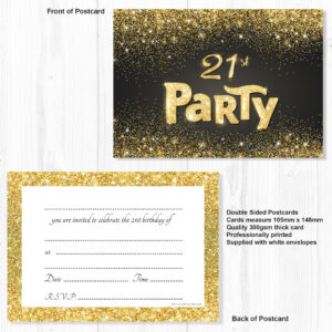 Black And Gold Effect 21st Birthday Party Invitations Ready To Write With Envelopes Pack 10 Olivia Samuel