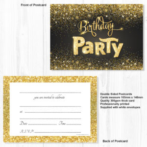 black and gold birthday party invitations ready to write with