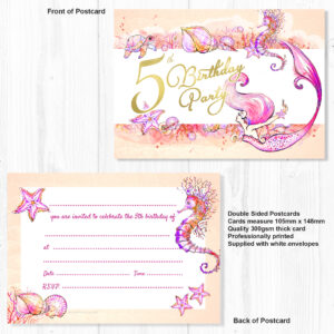 Mermaid 5th Birthday Party Invitations Ready To Write With Envelopes Pack 10 Olivia Samuel