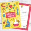 Science Party Birthday Invitations Ready to Write