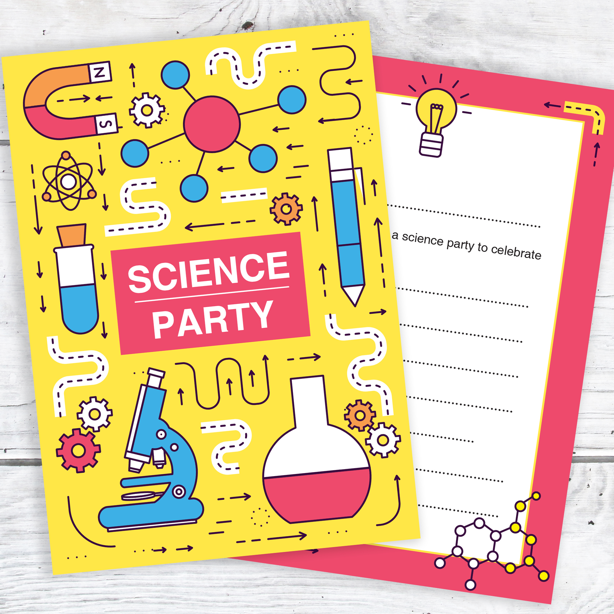 Science Party Invitations – Ready to Write with Envelopes (Pack 10 ...