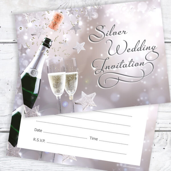 Silver Wedding Invitation Ready to Write with Envelopes (Pack 10)