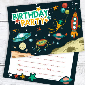 Space themed birthday party invitations pack